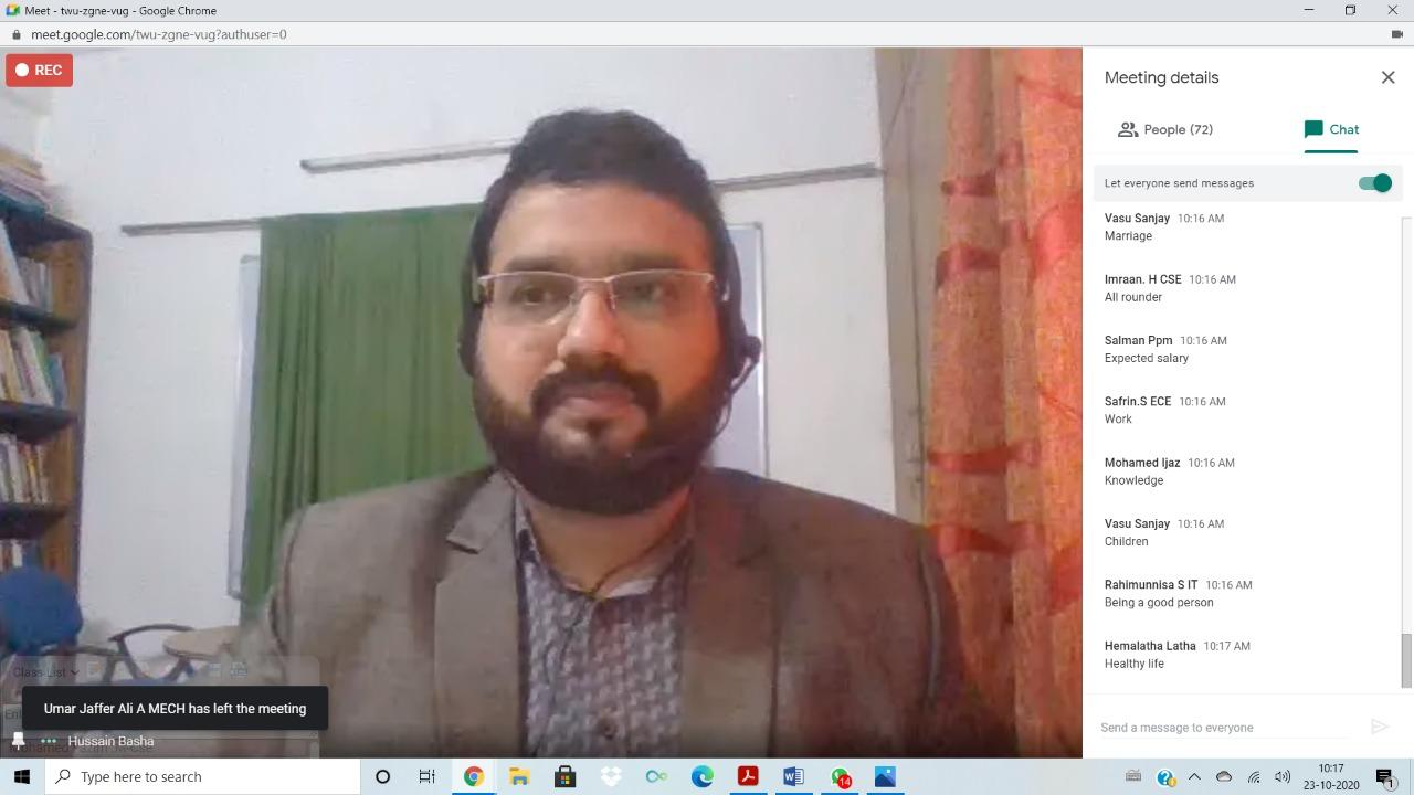Webinar for Mohammed Sathak College